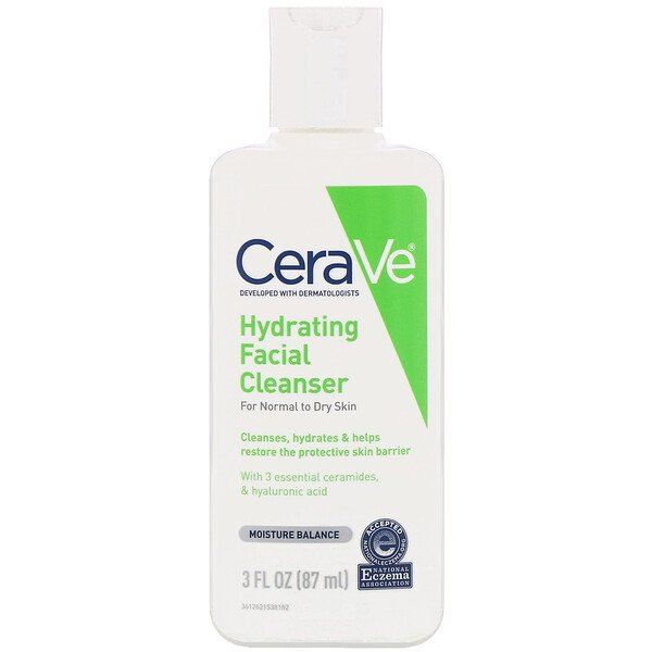 CeraVe, Hydrating Facial Cleanser, for normal to dry skin, 3 fluid oz (87 ml)