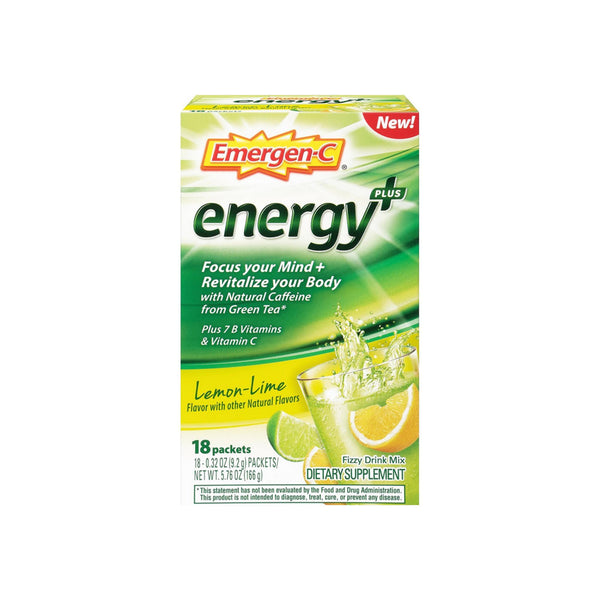 Emergen-C Energy+ Fizzy Drink Mix Packets with Caffeine, Lemon-Lime 18 ea