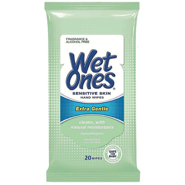 WET ONES Sensitive Skin Hand Wipes, Extra Gentle Unscented 20 ea