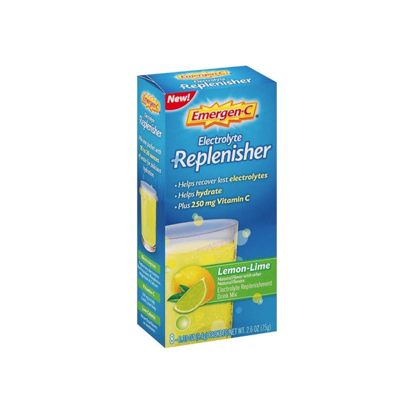 Emergen-C Electrolyte Replenisher  Drink Mix with 250mg Vitamin C, Lemon Lime Flavor 8 ea