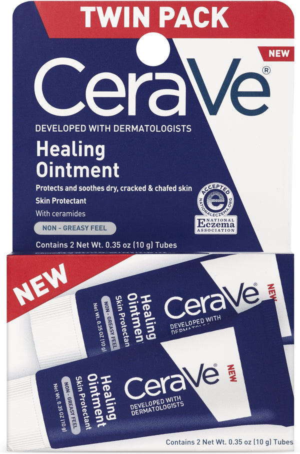 CeraVe Healing Ointment Tube, Twin Pack, 0.35 oz