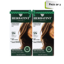 Herbal Care Herbatint Permanent Herbal Haircolour Gel, Light Chestnut, 5N (Pack 2)