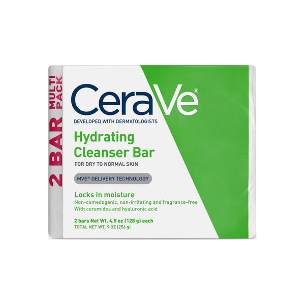 CeraVe  Hydrating Cleanser Bar, TWIN PACK 4.5 oz