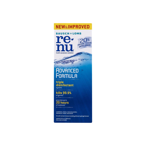 Bausch & Lomb ReNu Advanced Triple Disinfect Formula Multi-Purpose Eye Contact Lens Solution 12 oz