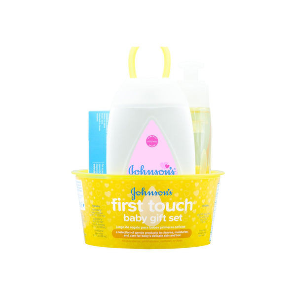 JOHNSON'S First Touch Gift Set, Baby Bath, Skin & Hair Essentials For New Parents 5 Item