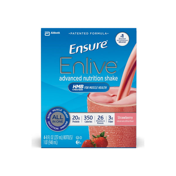 Ensure Enlive Advanced Nutrition Shakes Strawberry, 4 ea