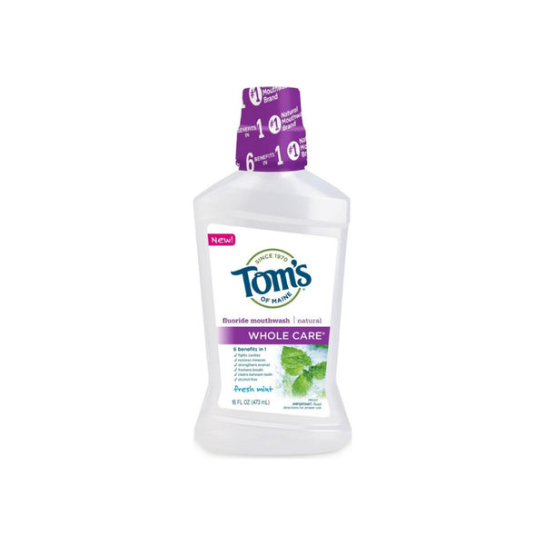 Tom's of Maine Whole Care Mouthwash, Fresh Mint, 16 oz