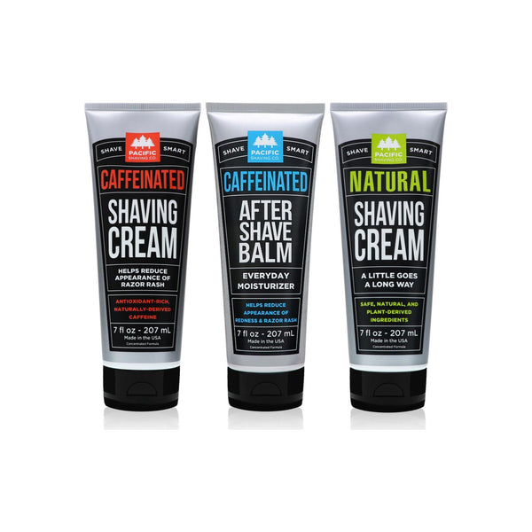 Pacific Shaving Company 3-Pc Shaving Essentials Set | Natural Ingredients Natural Shave Cream Caffeinated Shaving Cream,Caffeinated Aftershave 1 ea