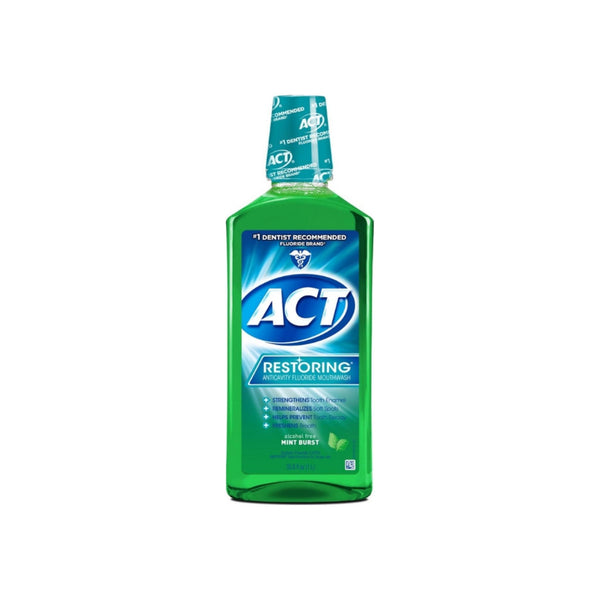 ACT Restoring Alcohol-Free Mouthwash, Mint Burst, 33.8 oz