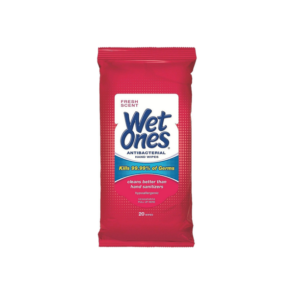 WET ONES Antibacterial Hand Wipes, Fresh Scent 20 ea