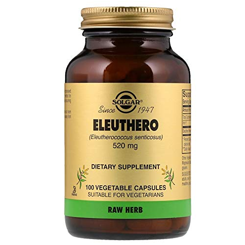Solgar Eleuthero Vegetable Capsules, 520 mg, 100 Count