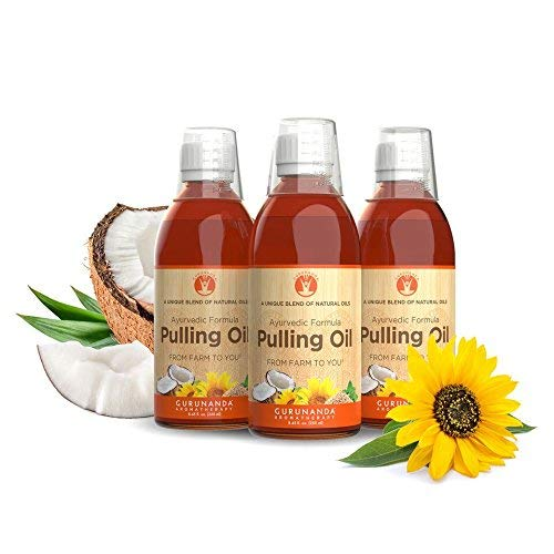 3 Pk GuruNanda Oil Pulling, Natural Mouthwash, Ayurvedic Blend of Coconut, Sesame, Sunflower, Peppermint Oils. A Refreshing Oral Rinse - Helps Bad Breath, Healthy Gums + Whitens Teeth. (8.45 fl. oz).