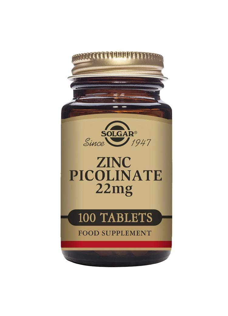 Solgar Zinc Picolinate Tablets, 22 Mg, 100 Count