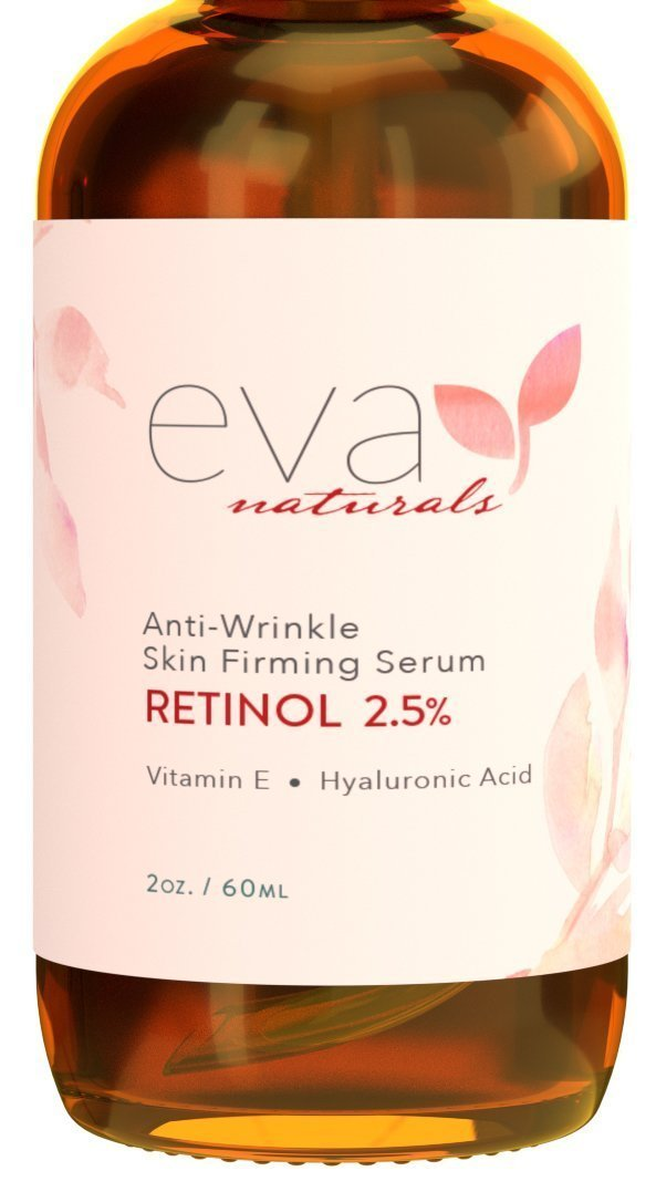 "Natural Vitamin A Retinol Serum 2.5%, XL 2 oz. Bottle €"" Anti-Aging Serum + Vitamin E Oil, Jojoba Oil, Witch Hazel €"" Hyaluronic Acid Serum for Face Fades Wrinkles, Dark Spots, Damage by Eva Naturals"
