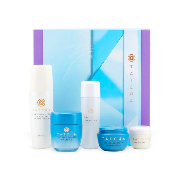Tatcha The Starter Ritual Set - Soothing for Sensitive Skin: Includes Pure One Step Camellia Cleansing Oil, The Rice Polish: Calming, The Essence, The Indigo Cream, The Silk Peony