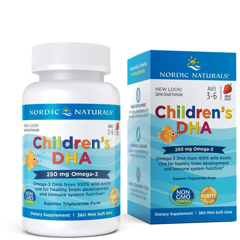 Nordic Naturals, Children's DHA, Strawberry, 250 mg, 360 Chewable Soft Gels