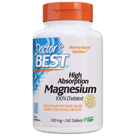 Doctor's Best, High Absorption Magnesium, 100% Chelated, 240 Tablets