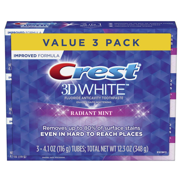 4.8 Ounce Triple Pack : Crest 3D White, Whitening Toothpaste, Radiant Mint, 4.8 Ounce, Pack of 3