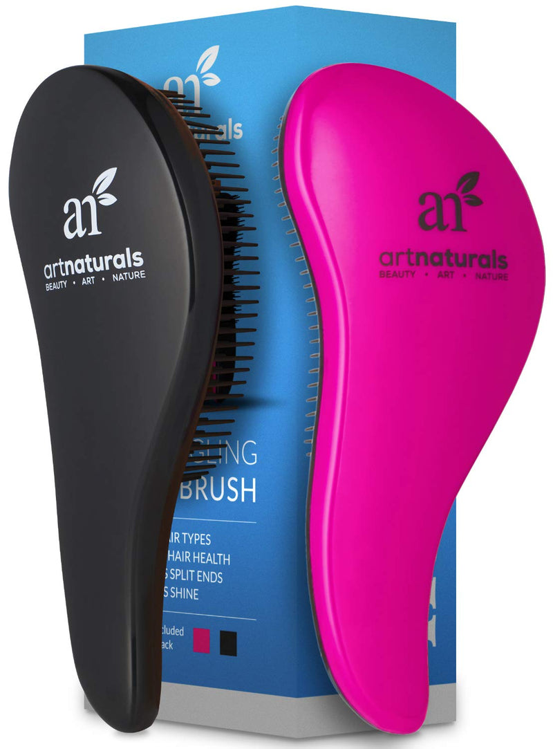ArtNaturals Detangling Hair Brush Set (Pink & Black)