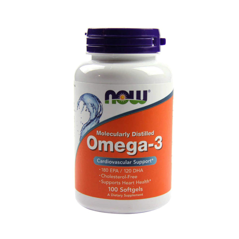 NOW Foods Omega-3 Molecularly Distilled Fish Oil -100 Softgels