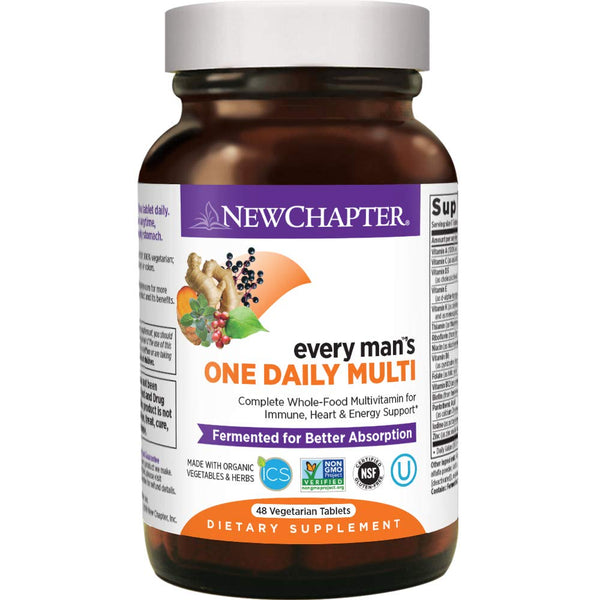 New Chapter Every Man's One Daily Men's Multivitamin Fermented with Probiotics + Selenium + B Vitamins + Vitamin D3 + Organic Non-GMO Ingredients - 48 ct