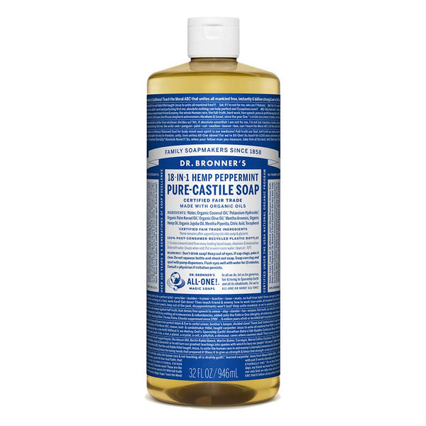 Dr. Bronner's Magic Soaps Pure Castile Soap 18-in-1 Hemp Peppermint, 32 Oz Bottle