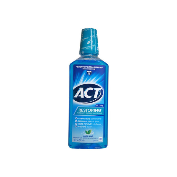 ACT Restoring Anticavity Fluoride Mouthwash Cool Splash Mint 18 oz