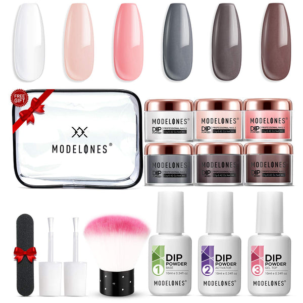 Dip Powder Nail Starter Kit Modelones Peachy Nails Kit for Autumn 6 Colors- Manicure Nail Art Set Essential Kit for Travelling, Nail Starters Preference, Home Use for Mature Girl and Color Lover.