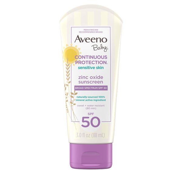 Aveeno Baby Continuous Protection Zinc Oxide Mineral Sunscreen Lotion For Sensitive Skin