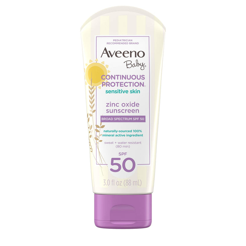 Aveeno Baby Continuous Protection Zinc Oxide Mineral Sunscreen Lotion For Sensitive Skin With.