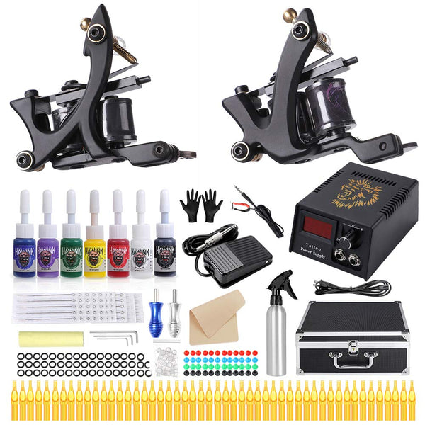 HAWINK Complete Tattoo Kit for Beginners Tattoo Power Supply Kit 7 Tattoo Ink set 50 Tattoo Needles 2 Pro Tattoo Machine Kit Tattoo Supplies TK-HW2002