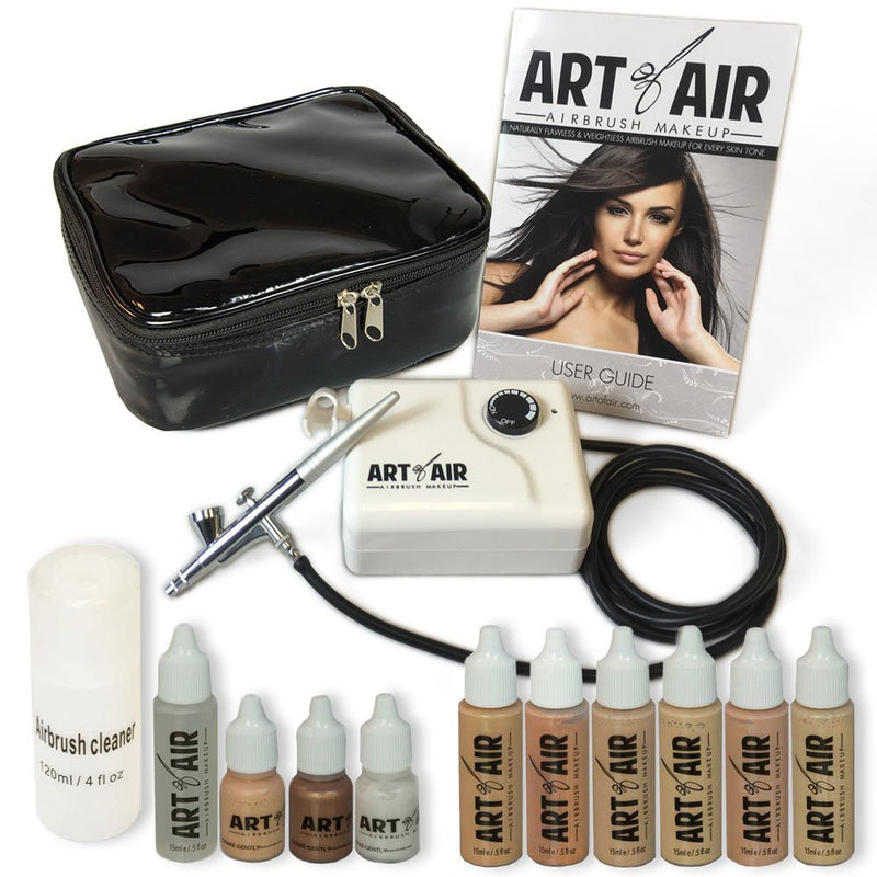 Art of Air Professional Airbrush Cosmetic Makeup Kit with Foundation Set, 6 Pieces