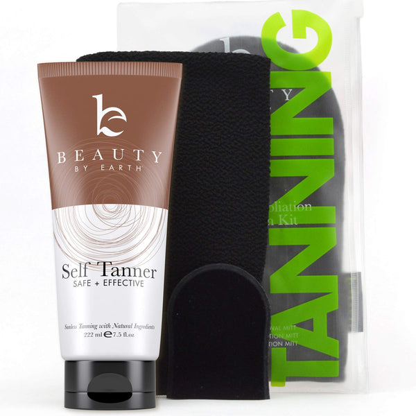 Self Tanner & Tanning Mitt Set  Tanning Lotion with Organic Aloe Vera & Shea Butter for Bronze Natural Looking Fake Tan, Mitt Set Includes Exfoliating Glove, Body Applicator and Face Applicator