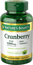 Nature's Bounty Cranberry Pills w/ Vitamin C, 4200mg Cranberry Supplement, 250 Softgels