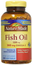 Nature Made Fish Oil 1200mg Omega-3 360mg- 200 Liquid Softgels