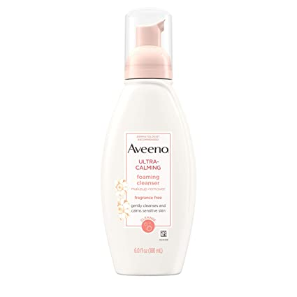Aveeno Active Naturals Ultra Calming Fragrance-Free Cleansing Foam, 6-Ounce Bottle, Pack of 1