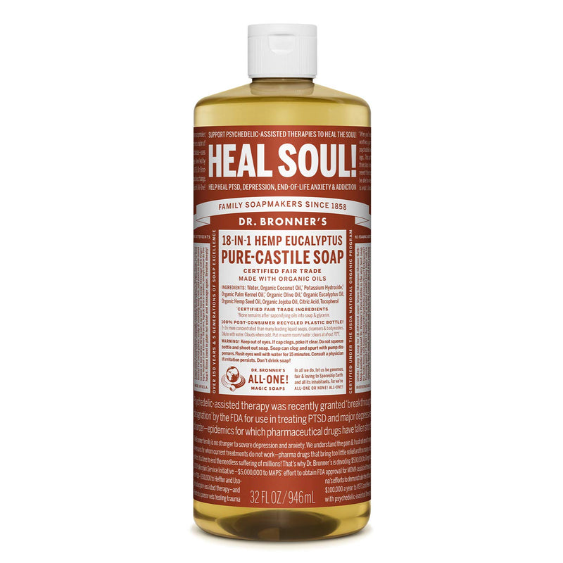 Dr. Bronner's Magic Soaps Pure-Castile Soap 18-in-1 Hemp Eucalyptus 32-Ounce