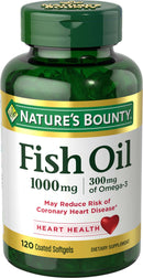 Nature's Bounty Omega-3 Fish Oil Odorless (1000mg, 120 Softgels)