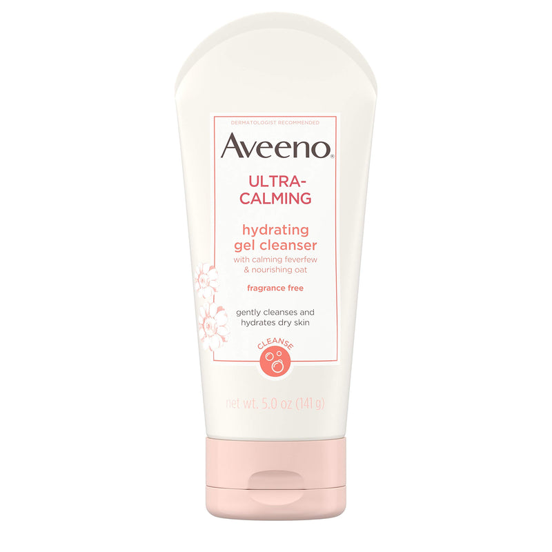 Aveeno Ultra-Calming Hydrating Gel Facial Cleanser with Calming Feverfew & Nourishing Oat, Daily Face Wash for Dry & Sensitive Skin, Hypoallergenic, Fragrance-Free & Non-Comedogenic, 5 oz