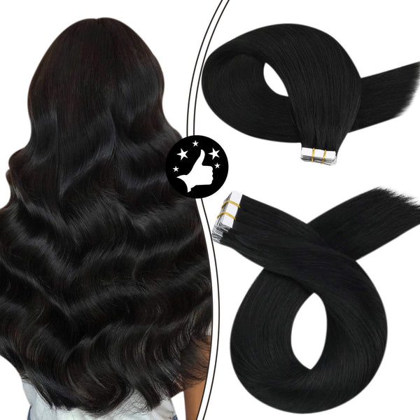 Moresoo Black Tape in Hair Extensions Human Hair 24inch Human Hair Tape in Extensions Pure Color Jet Black Skin Weft Hair Extensions Remy Human Hair Seamless Glue on Hair PU Tape ins #1 50Gram/20PCS