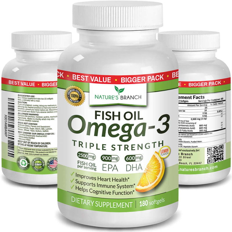 Omega 3 Fish Oil Pills 2500 mg High Potency 860 mg Epa 650 mg DHA Burpless Liquid Softgels Brain Joints Eyes Heart Health Supplement (Lemon Flavour, 180 Capsules)