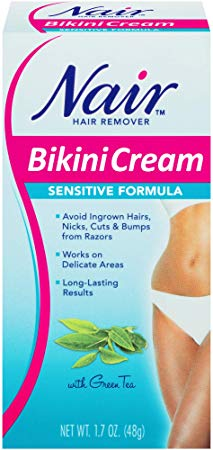Nair Sensitive Formula Bikini Cream With Green Tea Hair Remover By, 1.7 Ounce