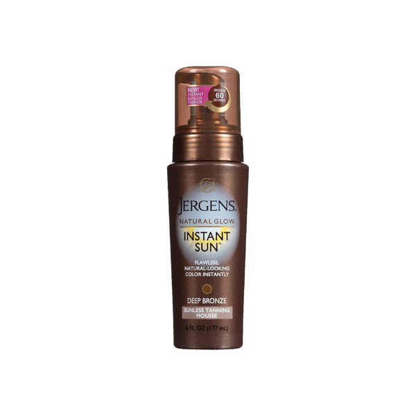Jergens Natural Glow Instant Sun Sunless Tanning Mousse, Deep Bronze 6 oz