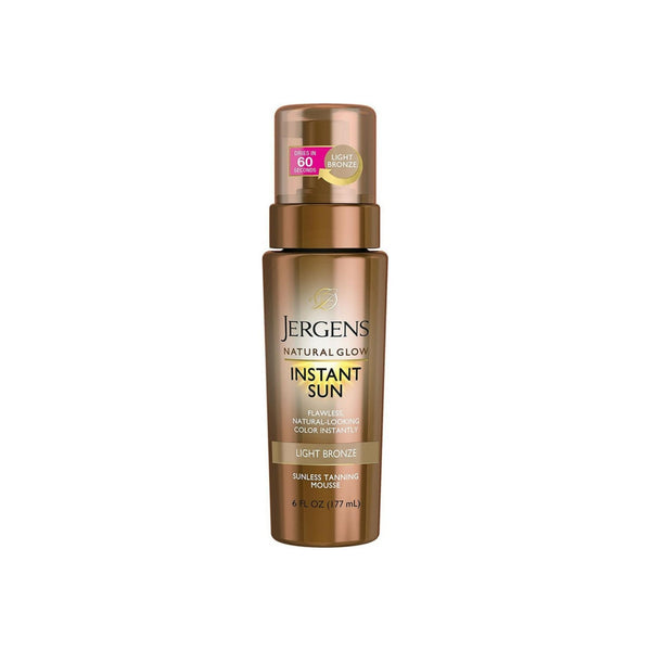 Jergens Natural Glow Instant Sun Sunless Tanning Mousse, Light Bronze 6 oz