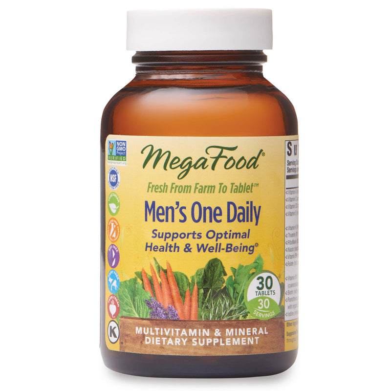 MegaFood - Men's One Daily, Multivitamin Support for Healthy Energy and Stress Response, 30 Tablets