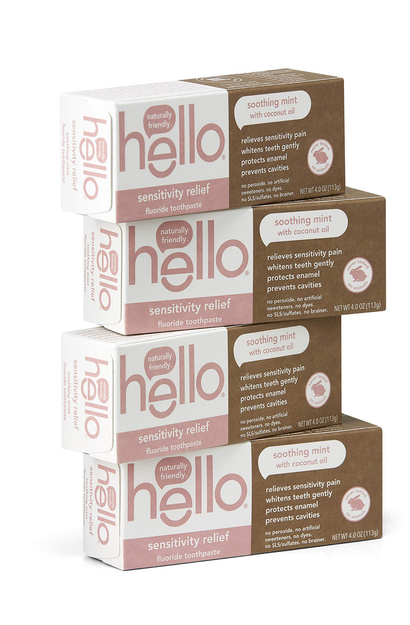 Hello Sensitivity Relief Fluoride Toothpaste with No Artificial Sweeteners or SLS, Soothing Mint with Coconut Oil, 4 Count