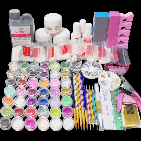 Latorice Acrylic Nail Kit with everything, Nail Art Set Acrylic Powder And Liquid Brush Glitter File French Tips Nail Art Decoration Tools