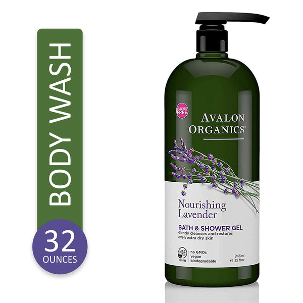 Avalon Organics Avalon Bath And Shower Gel, Lavender, 32 Ounce