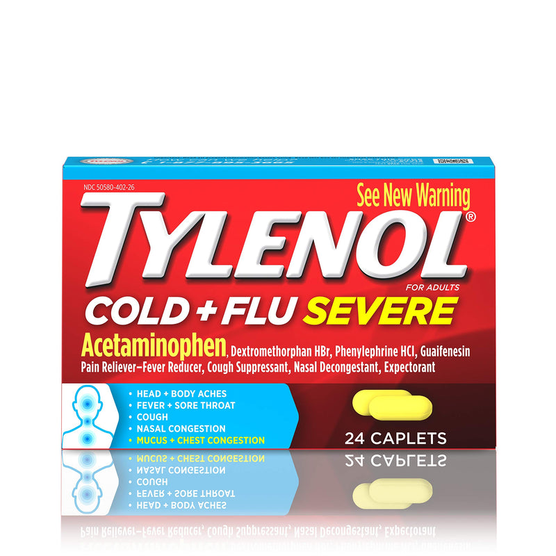 Tylenol Cold and Flu Symptom Relief Medication Capsules, Fever Reduction, Pain Relief, Cough Suppressant, Nasal Decongestant and Expectorant, 24 Count (Pack of 6)