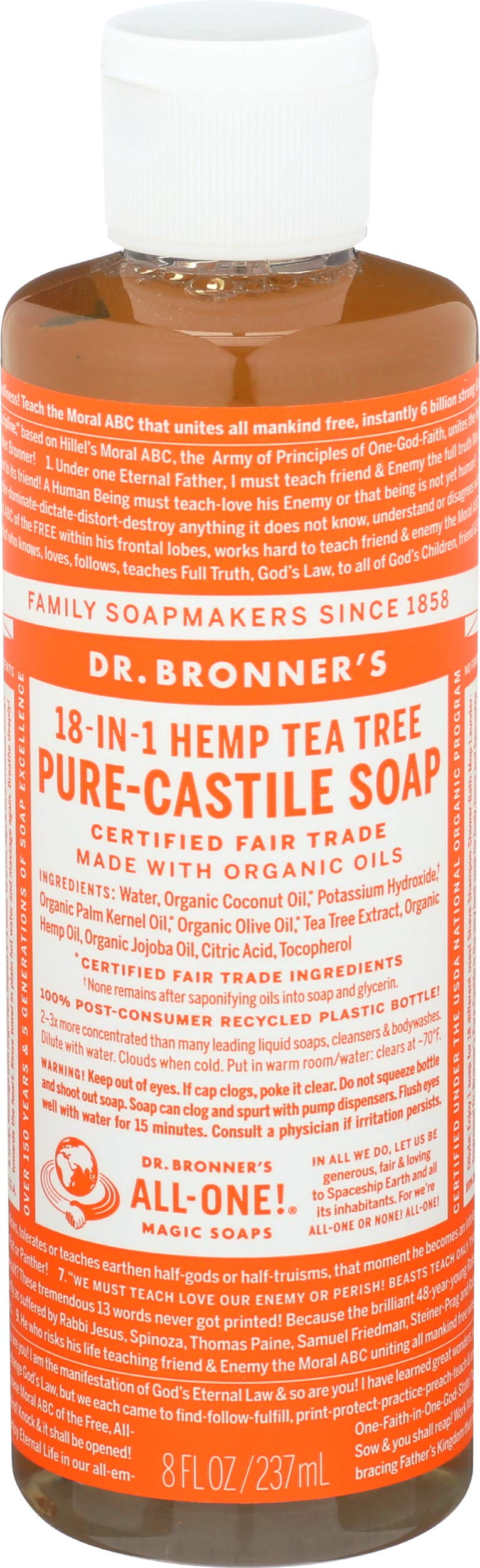 Dr. Bronner'S Castile Liquid Soap-Tea Tree - 8 Oz - Liquid